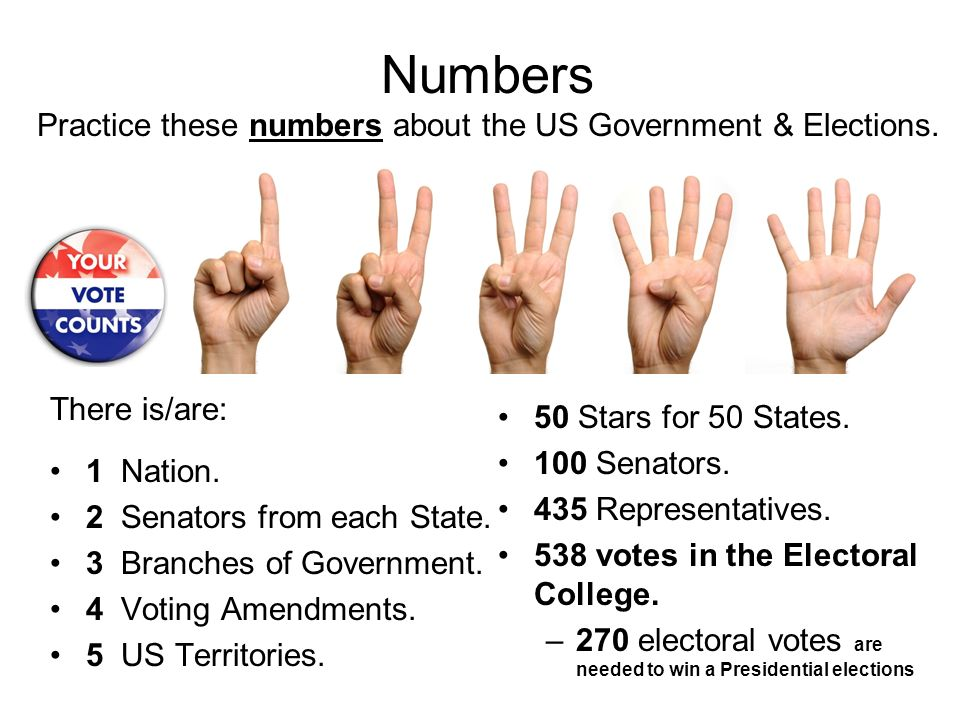 Numbers Practice these numbers about the US Government & Elections. There is/are: 1 Nation. 2 Senators from each State. 3 Branches of Government. 4 Vo