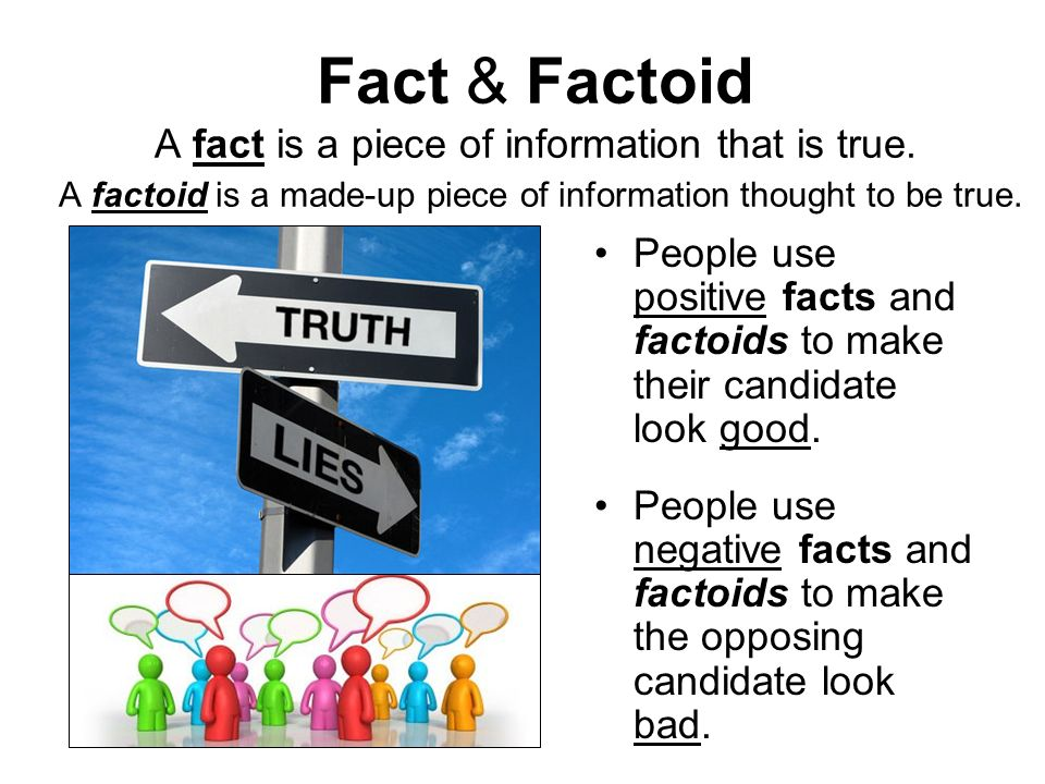 Fact & Factoid A fact is a piece of information that is true. A factoid is a made-up piece of information thought to be true. People use positive fact