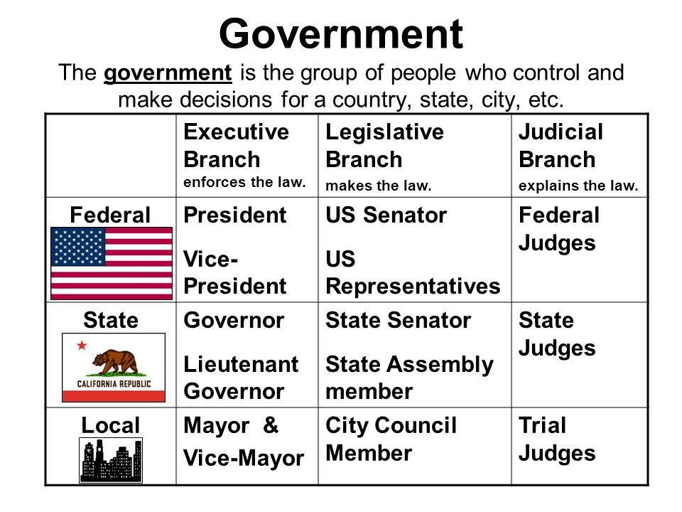Government The government is the group of people who control and make decisions for a country, state, city, etc. Executive Branch enforces the law. Le