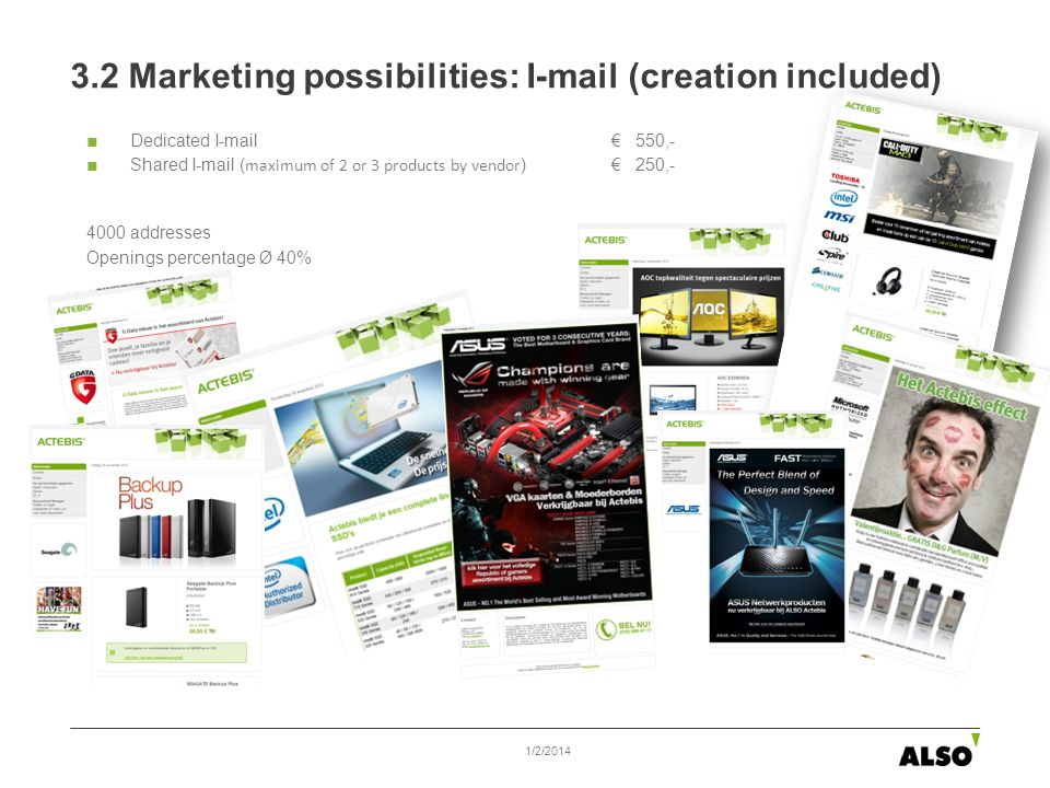 Dedicated I-mail 550,- Shared I-mail ( maximum of 2 or 3 products by vendor ) 250,- 4000 addresses Openings percentage Ø 40% 3.2 Marketing possibiliti