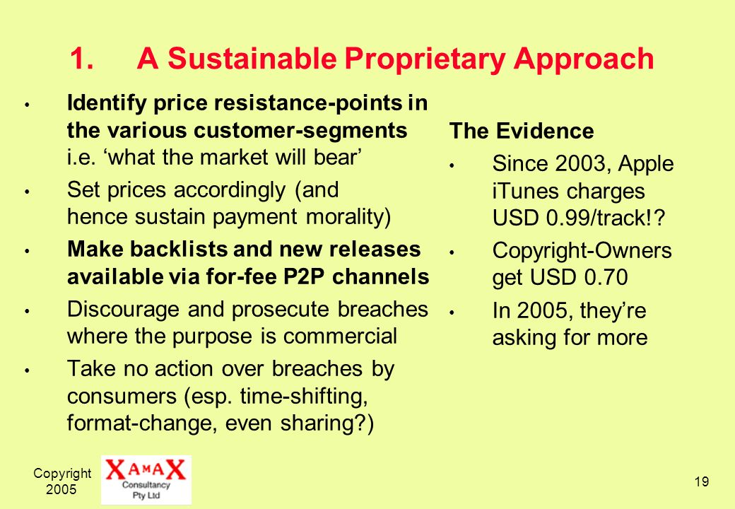 Copyright 2005 19 1.A Sustainable Proprietary Approach Identify price resistance-points in the various customer-segments i.e.