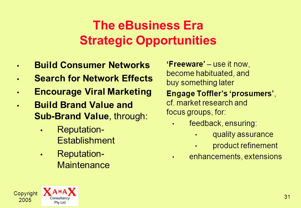 Copyright 2005 31 The eBusiness Era Strategic Opportunities Build Consumer Networks Search for Network Effects Encourage Viral Marketing Build Brand Value and Sub-Brand Value, through: Reputation- Establishment Reputation- Maintenance Freeware – use it now, become habituated, and buy something later Engage Tofflers prosumers, cf.