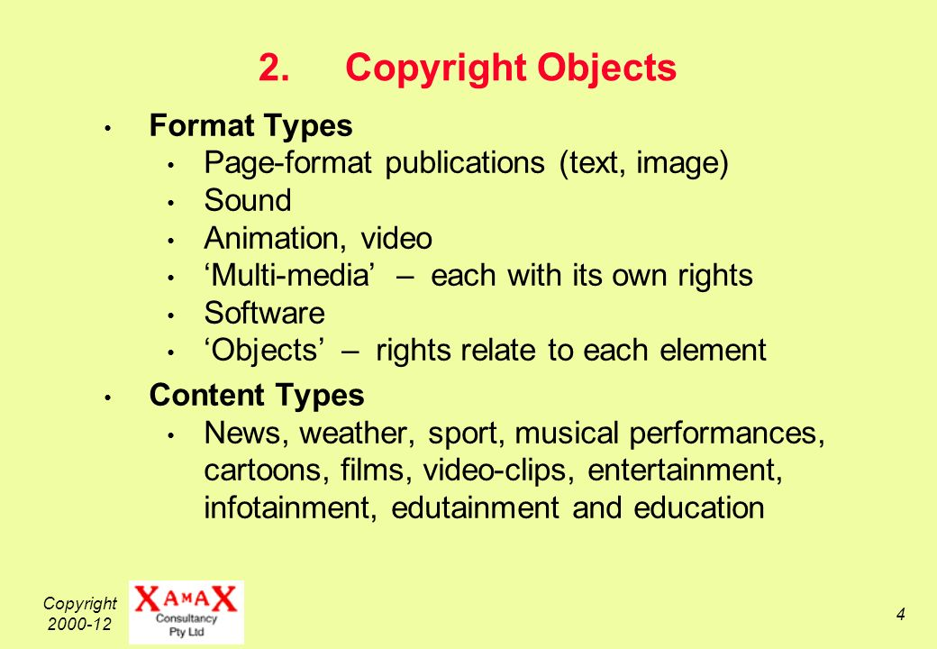 Copyright 2000-12 5 Copyright Objects in the Digital Era – 1 Convenient, inexpensive Creation ( born digital ) desktop publishing packages, PC-based graphic design tools, animation, digital music generators Convenient Conversion of existing materials scanners, OCR, digital audio-recording, digital cameras Near-costless Replication disk-to-disk copying, screen-grabbers, CD/DVD-burners as a consumer appliance