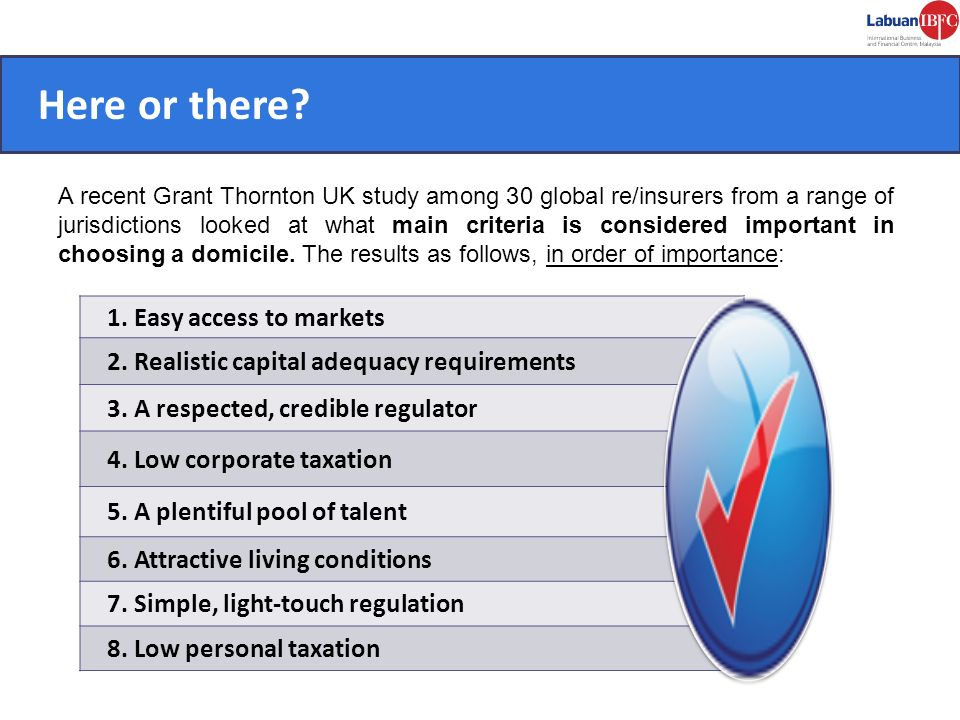 CONVENIENT. Here or there? A recent Grant Thornton UK study among 30 global re/insurers from a range of jurisdictions looked at what main criteria is
