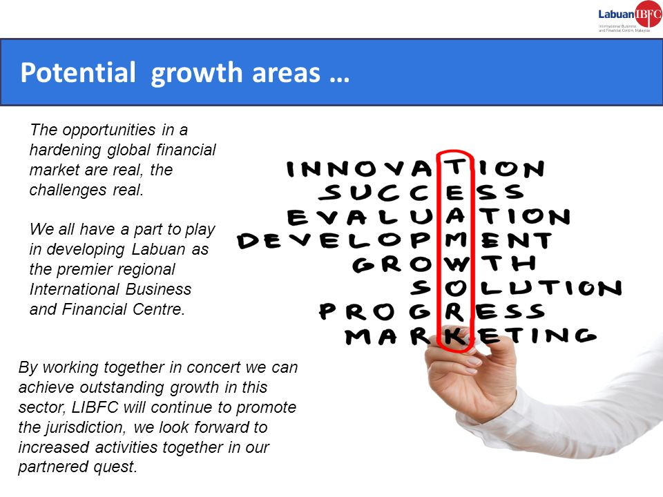 Potential growth areas … The opportunities in a hardening global financial market are real, the challenges real. We all have a part to play in develop
