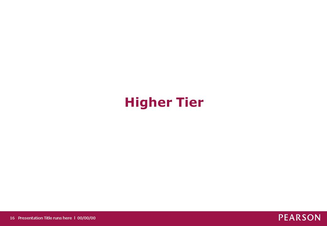 Presentation Title runs here l 00/00/0016 Higher Tier