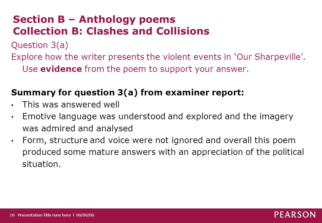 Section B – Anthology poems Collection B: Clashes and Collisions Question 3(a) Explore how the writer presents the violent events in Our Sharpeville.