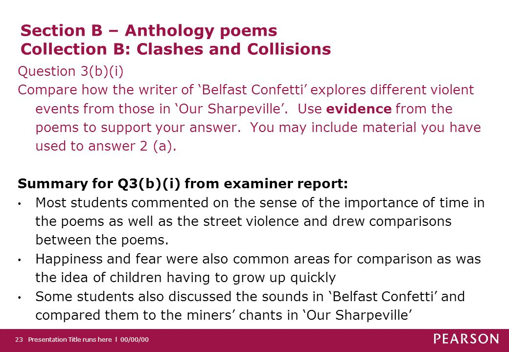Section B – Anthology poems Collection B: Clashes and Collisions Question 3(b)(i) Compare how the writer of Belfast Confetti explores different violen