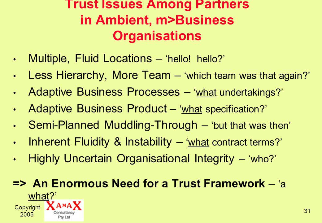Copyright 2005 31 Trust Issues Among Partners in Ambient, m>Business Organisations Multiple, Fluid Locations – hello.