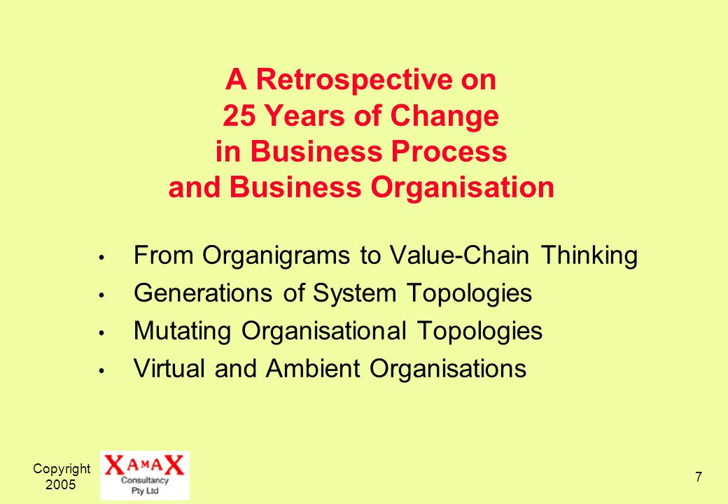 Copyright 2005 7 A Retrospective on 25 Years of Change in Business Process and Business Organisation From Organigrams to Value-Chain Thinking Generations of System Topologies Mutating Organisational Topologies Virtual and Ambient Organisations