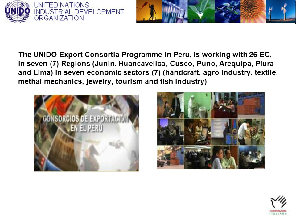 The UNIDO Export Consortia Programme in Peru, is working with 26 EC, in seven (7) Regions (Junin, Huancavelica, Cusco, Puno, Arequipa, Piura and Lima)