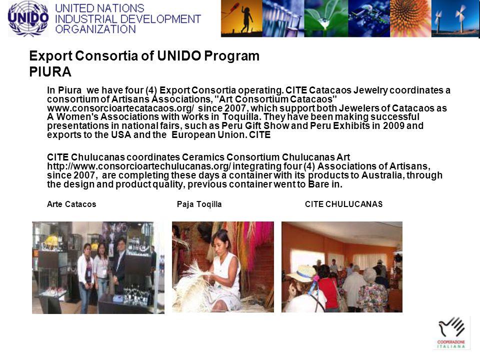 Export Consortia of UNIDO Program PIURA In Piura we have four (4) Export Consortia operating. CITE Catacaos Jewelry coordinates a consortium of Artisa