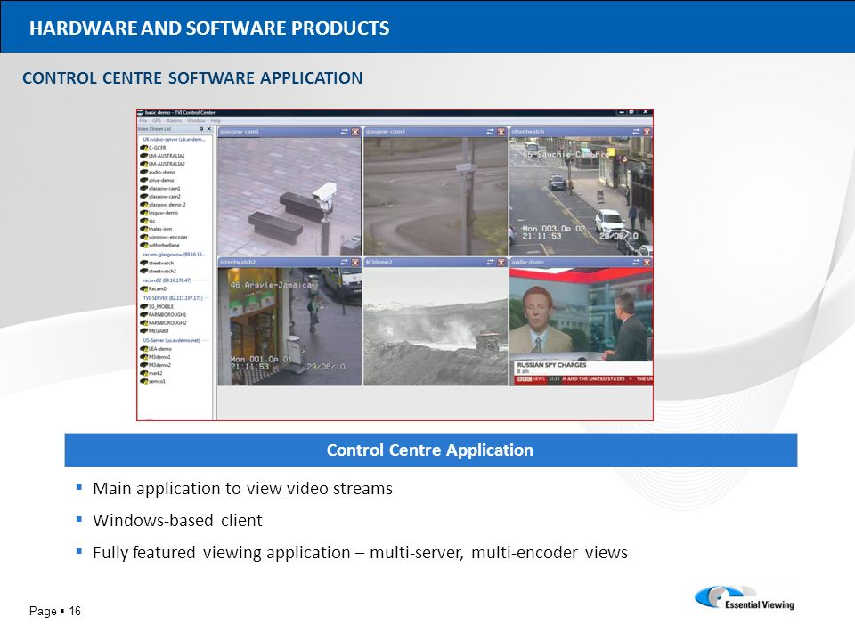 Page 16 HARDWARE AND SOFTWARE PRODUCTS Control Centre Application Main application to view video streams Windows-based client Fully featured viewing a
