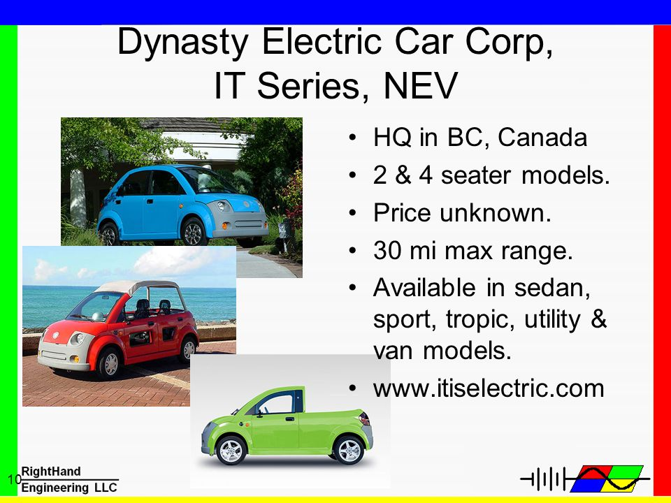 10 Dynasty Electric Car Corp, IT Series, NEV HQ in BC, Canada 2 & 4 seater models. Price unknown. 30 mi max range. Available in sedan, sport, tropic,