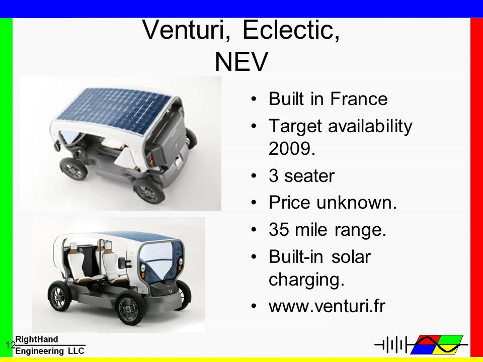 12 Venturi, Eclectic, NEV Built in France Target availability 2009. 3 seater Price unknown. 35 mile range. Built-in solar charging. www.venturi.fr