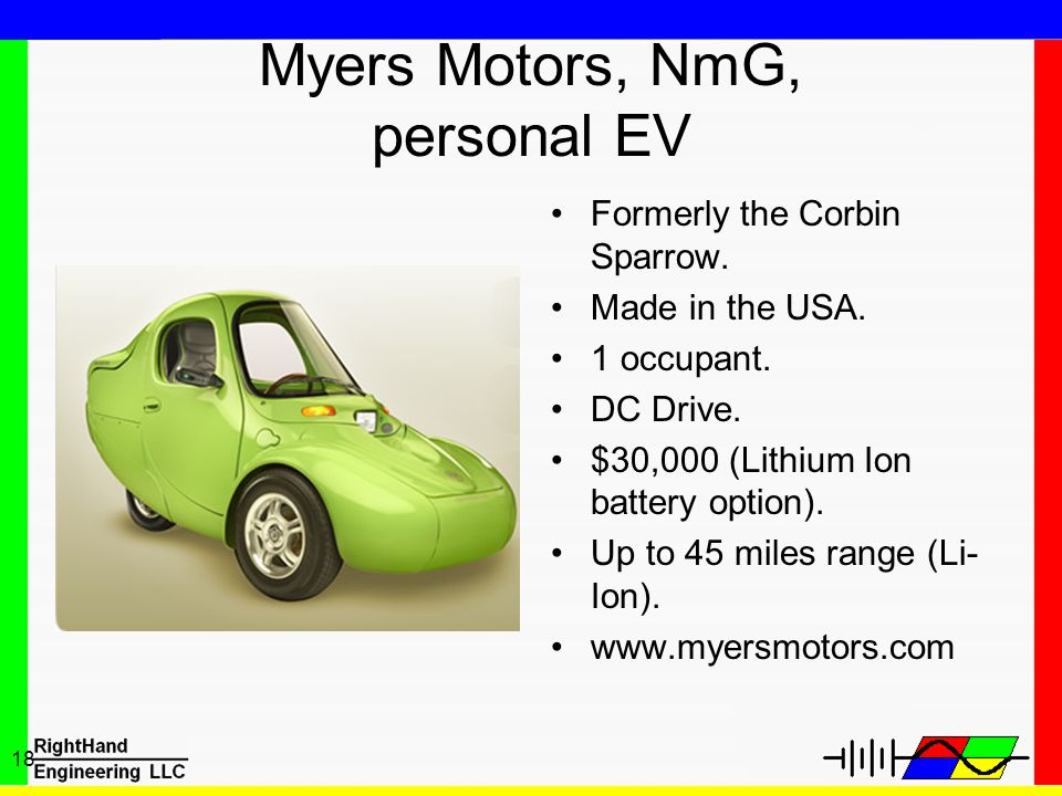 18 Myers Motors, NmG, personal EV Formerly the Corbin Sparrow. Made in the USA. 1 occupant. DC Drive. $30,000 (Lithium Ion battery option). Up to 45 m