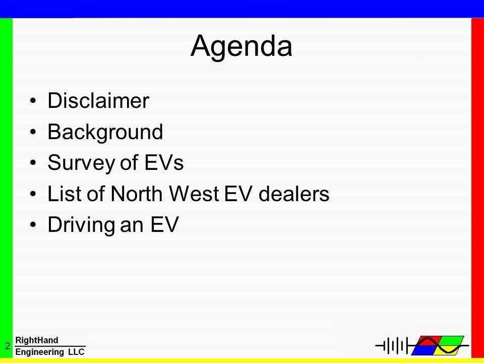 2 Agenda Disclaimer Background Survey of EVs List of North West EV dealers Driving an EV