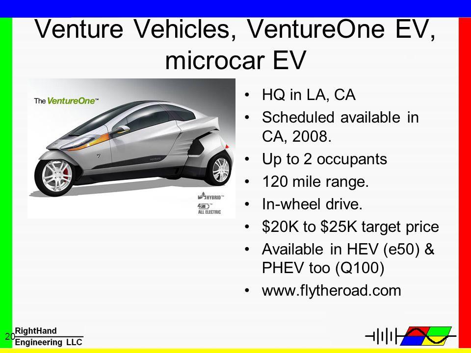 20 Venture Vehicles, VentureOne EV, microcar EV HQ in LA, CA Scheduled available in CA, 2008. Up to 2 occupants 120 mile range. In-wheel drive. $20K t