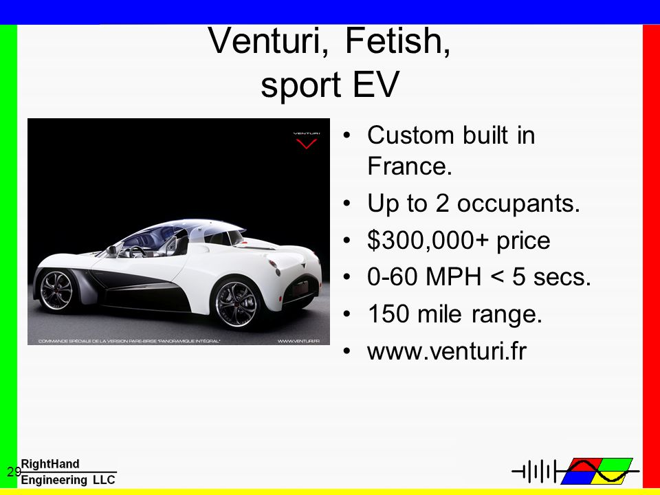 29 Venturi, Fetish, sport EV Custom built in France. Up to 2 occupants. $300,000+ price 0-60 MPH < 5 secs. 150 mile range. www.venturi.fr