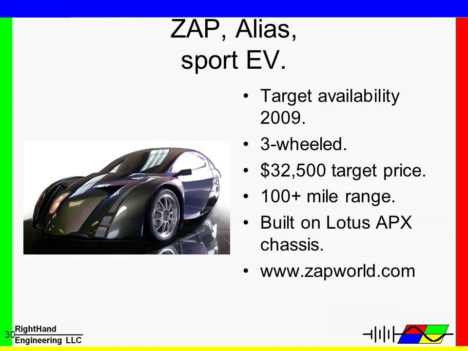 30 ZAP, Alias, sport EV. Target availability 2009. 3-wheeled. $32,500 target price. 100+ mile range. Built on Lotus APX chassis. www.zapworld.com