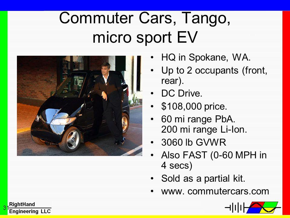 31 Commuter Cars, Tango, micro sport EV HQ in Spokane, WA. Up to 2 occupants (front, rear). DC Drive. $108,000 price. 60 mi range PbA. 200 mi range Li