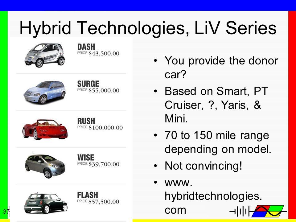 37 Hybrid Technologies, LiV Series You provide the donor car? Based on Smart, PT Cruiser, ?, Yaris, & Mini. 70 to 150 mile range depending on model. N