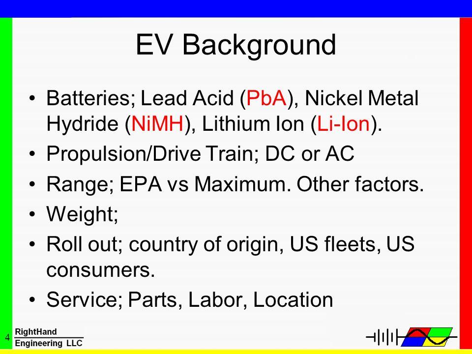 4 EV Background Batteries; Lead Acid (PbA), Nickel Metal Hydride (NiMH), Lithium Ion (Li-Ion). Propulsion/Drive Train; DC or AC Range; EPA vs Maximum.