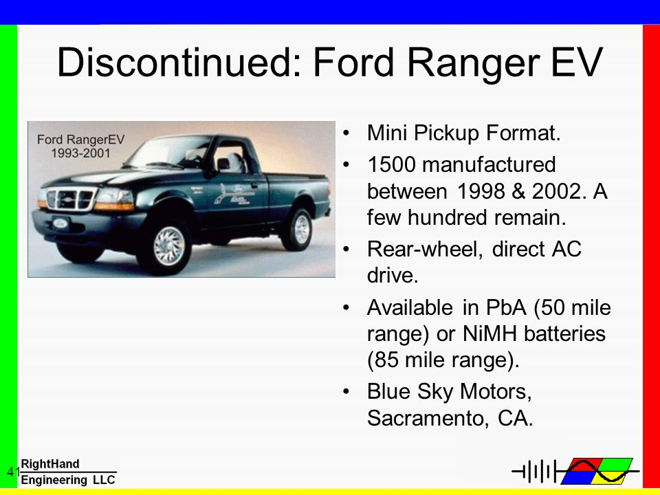 41 Discontinued: Ford Ranger EV Mini Pickup Format. 1500 manufactured between 1998 & 2002. A few hundred remain. Rear-wheel, direct AC drive. Availabl