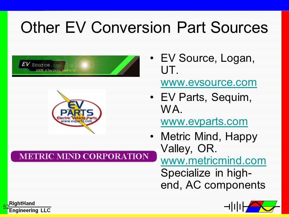 52 Other EV Conversion Part Sources EV Source, Logan, UT. www.evsource.com www.evsource.com EV Parts, Sequim, WA. www.evparts.com www.evparts.com Metr