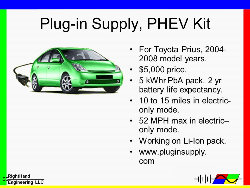 55 Plug-in Supply, PHEV Kit For Toyota Prius, 2004- 2008 model years. $5,000 price. 5 kWhr PbA pack. 2 yr battery life expectancy. 10 to 15 miles in e