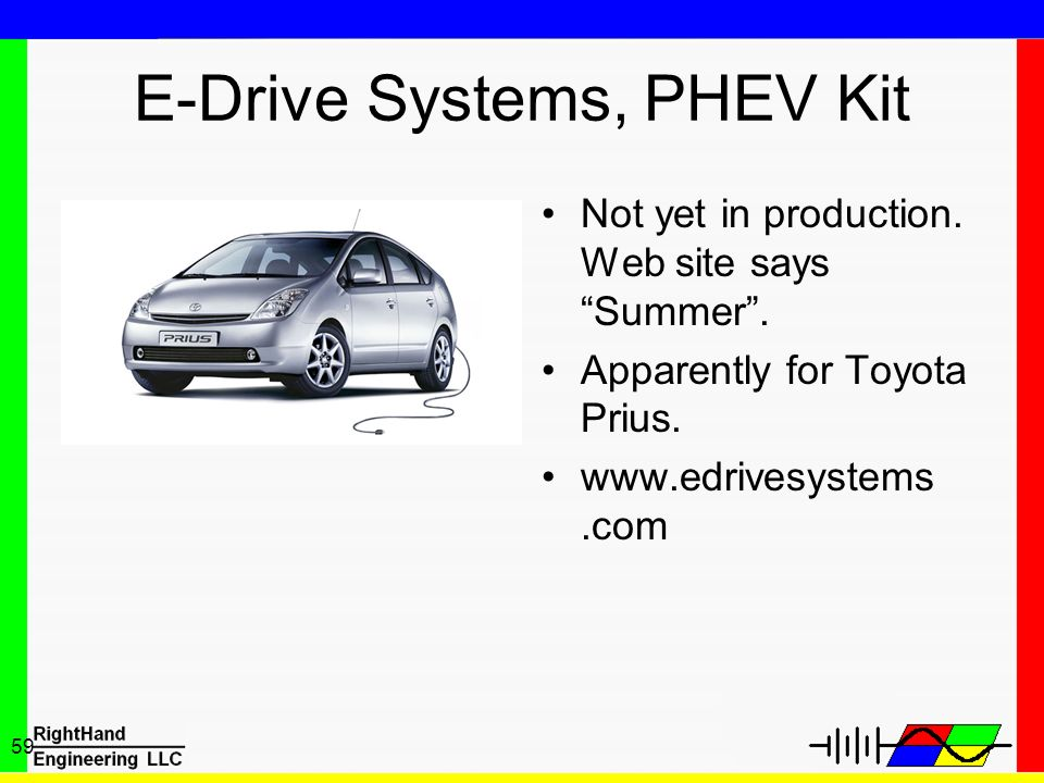 59 E-Drive Systems, PHEV Kit Not yet in production. Web site says Summer. Apparently for Toyota Prius. www.edrivesystems.com