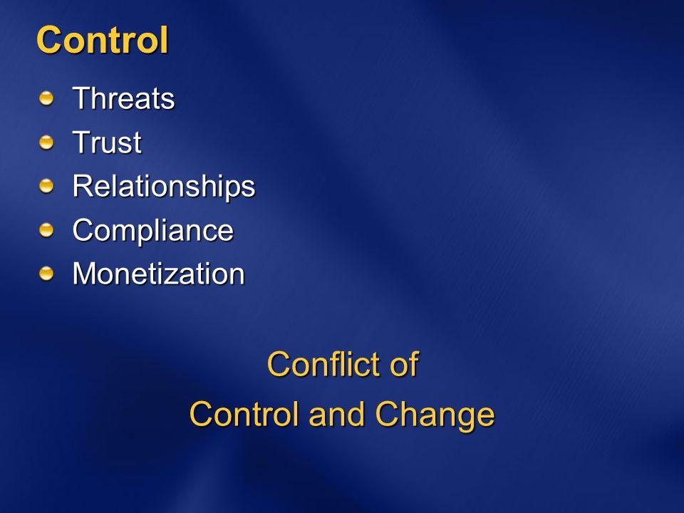 Control ThreatsTrustRelationshipsComplianceMonetization Conflict of Control and Change