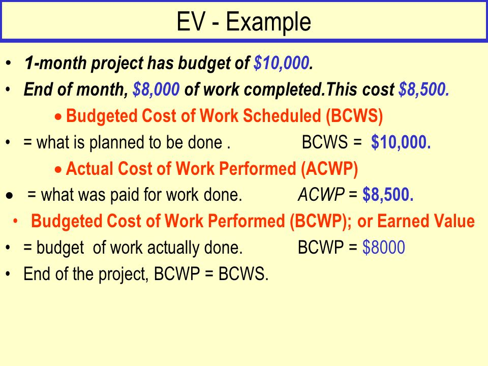 EV - Example 3. What does BCWP - ACWP tell you ?