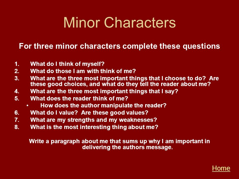 Minor Characters For three minor characters complete these questions 1.What do I think of myself? 2.What do those I am with think of me? 3.What are th