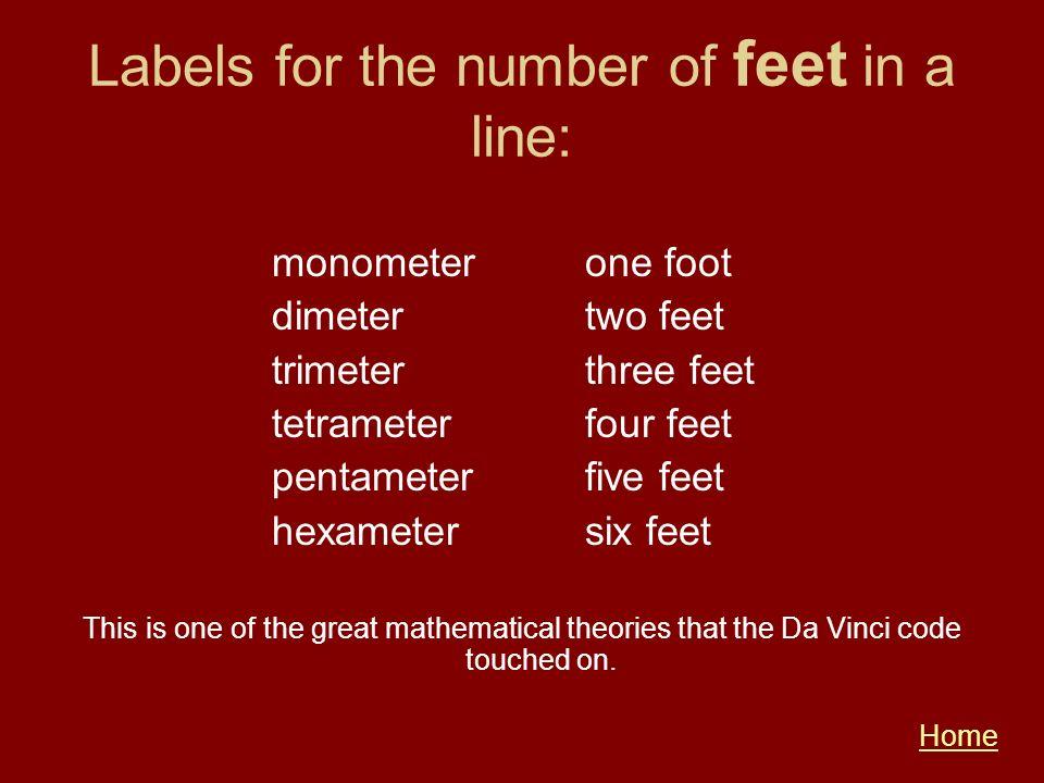 Labels for the number of feet in a line: monometerone foot dimetertwo feet trimeterthree feet tetrameterfour feet pentameterfive feet hexametersix fee