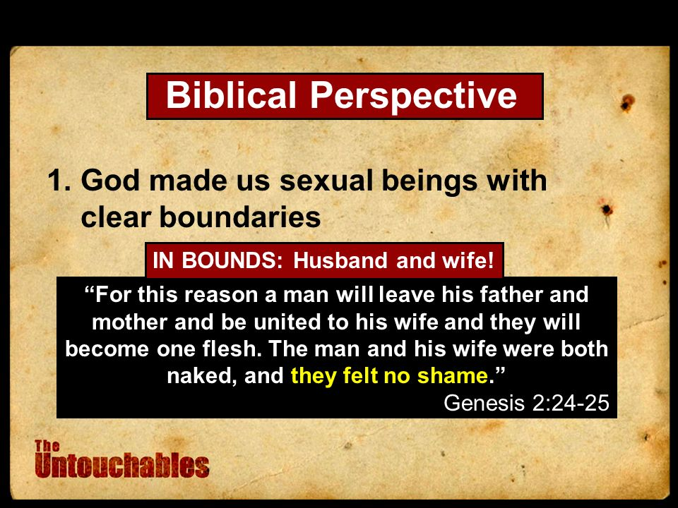 Biblical Perspective 1.God made us sexual beings with clear boundaries For this reason a man will leave his father and mother and be united to his wife and they will become one flesh.