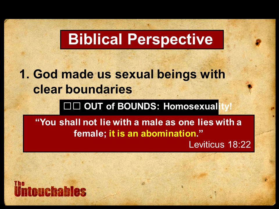 Biblical Perspective 1.God made us sexual beings with clear boundaries You shall not lie with a male as one lies with a female; it is an abomination.