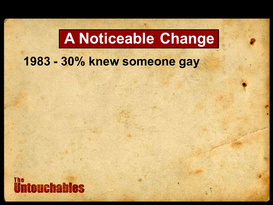 1983 - 30% knew someone gay A Noticeable Change