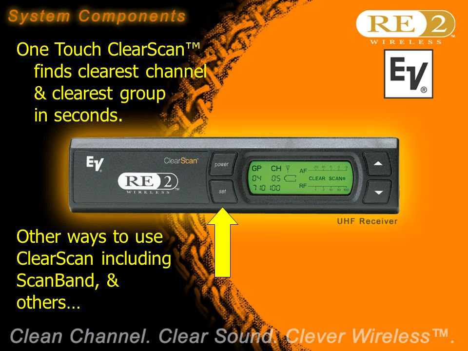 Wireless Basics 102 8/06/04 One Touch ClearScan finds clearest channel & clearest group in seconds.