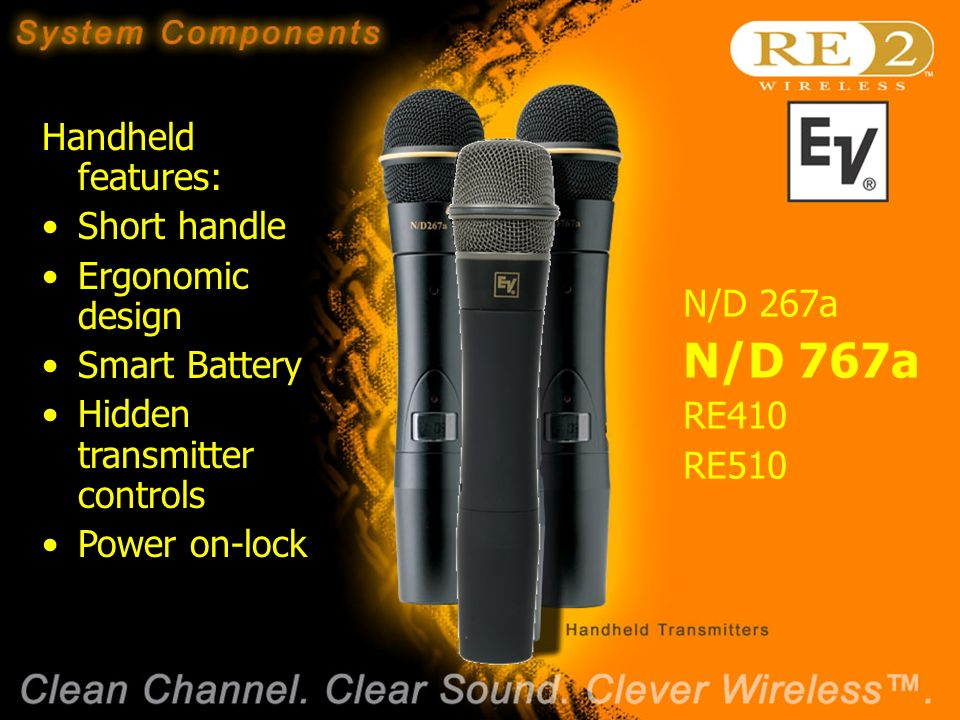 Wireless Basics 102 8/06/04 Handheld features: Short handle Ergonomic design Smart Battery Hidden transmitter controls Power on-lock N/D 267a N/D 767a RE410 RE510