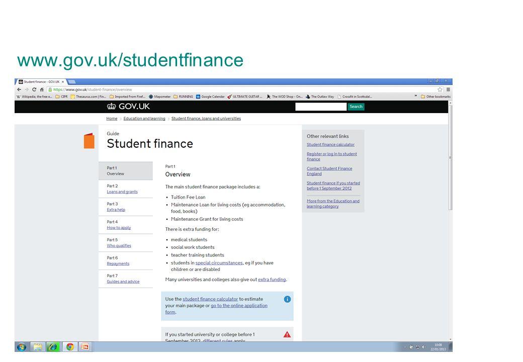 www.gov.uk/studentfinance