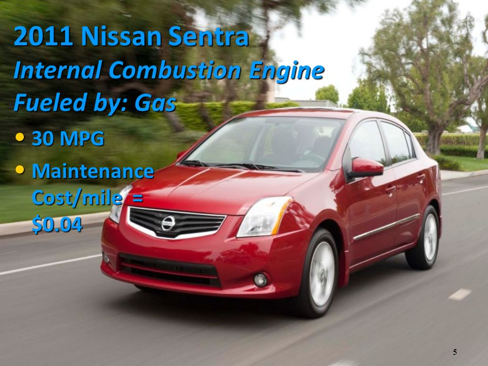 5 2011 Nissan Sentra Internal Combustion Engine Fueled by: Gas 30 MPG 30 MPG Maintenance Cost/mile = $0.04 Maintenance Cost/mile = $0.04