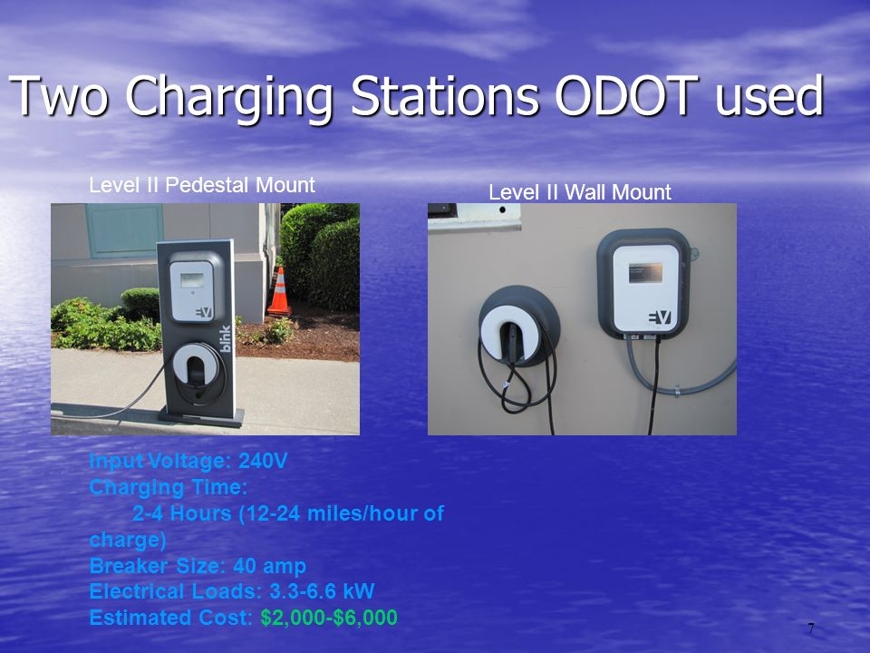 8 Charging Station Info (cont) EVSE 101: LEVEL I EVSE 101: LEVEL I – Input Voltage: 120V – Charging Time:12+ Hours (4 miles/hour of charge) – Breaker Size: 15-20 amp – Electrical Loads: 1.65 kW EVSE 101: DC Fast Charger Input Voltage: 480V or 208V Charging Time: 20-40 Minutes (4 miles/minute of charge) Breaker Size: Various Electrical Loads: 30-60 kW