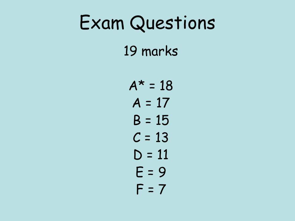 Exam Questions 19 marks A* = 18 A = 17 B = 15 C = 13 D = 11 E = 9 F = 7