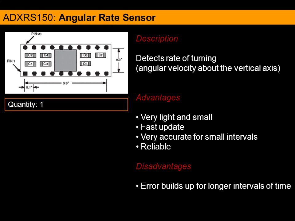 ADXRS150: Angular Rate Sensor Description Detects rate of turning (angular velocity about the vertical axis) Advantages Very light and small Fast upda