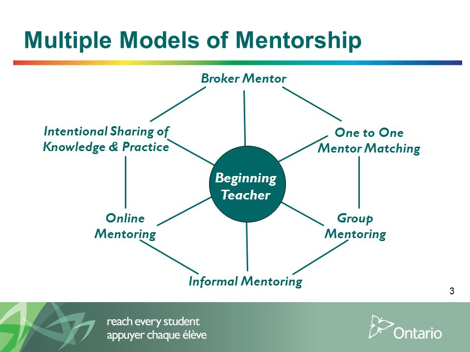 3 Multiple Models of Mentorship Broker Mentor One to One Mentor Matching Group Mentoring Informal Mentoring Online Mentoring Intentional Sharing of Kn