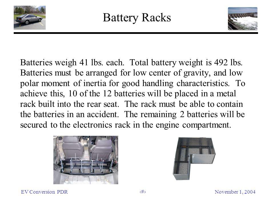EV Conversion PDRNovember 1, 2004 16 Battery Racks Batteries weigh 41 lbs.