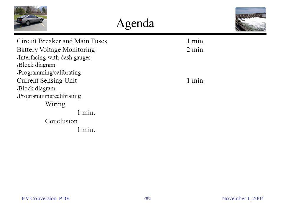 EV Conversion PDRNovember 1, 2004 5 Agenda Circuit Breaker and Main Fuses1 min.