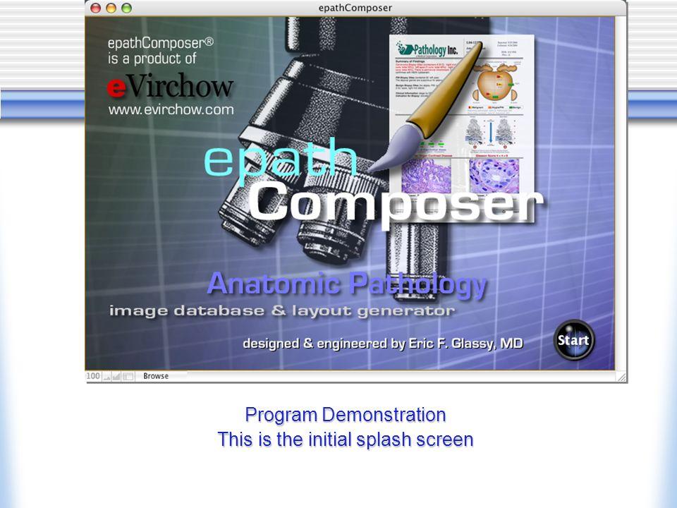 Program Demonstration This is the initial splash screen