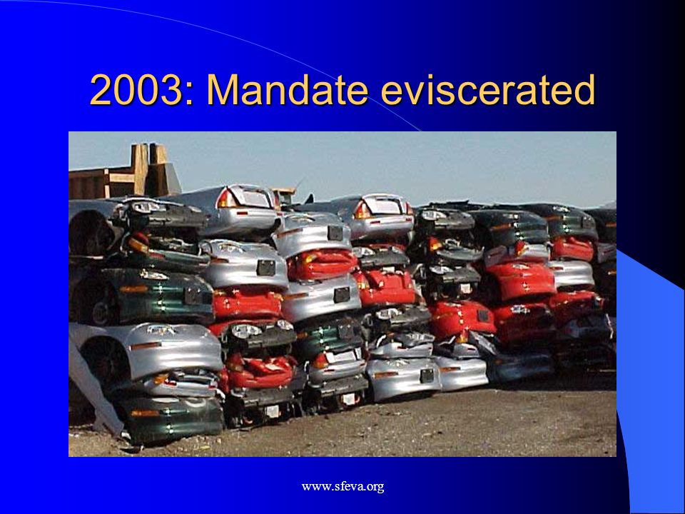 www.sfeva.org 2003: Mandate eviscerated